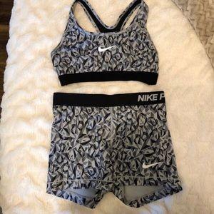 Nike pro shorts and sports bra set